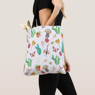 Whimsical Watercolor Plant Cactus Butterly Pattern Tote Bag