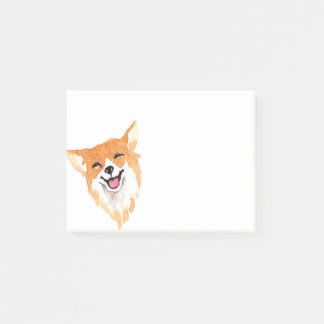 Whimsical Watercolor Print Corgi Post-it Notes