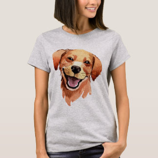 Whimsical Watercolor Print Golden Retriever Dog T-Shirt