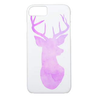 Whimsical Watercolor Purple Antler / Deer Animal iPhone 7 Case