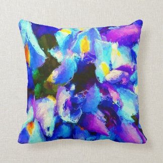 Whimsical Watercolor Purple Iris Cushion