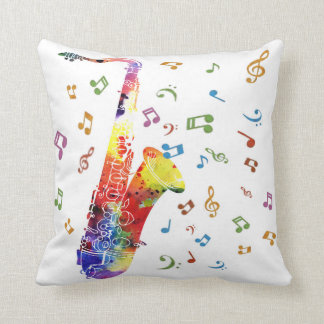 Whimsical Watercolor Saxophone Cushion