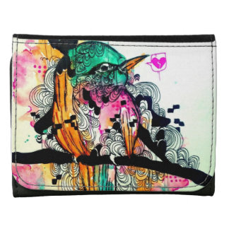 Whimsical watercolor tropical bird animal art leather trifold wallet
