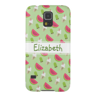 Whimsical Watermelon Pattern with Name Galaxy S5 Cases