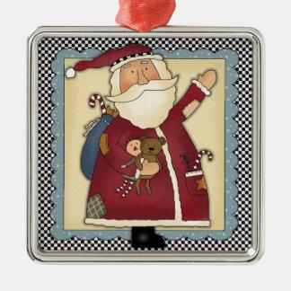 Whimsical Waving Santa Folk Art Christmas Gift Christmas Ornament