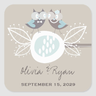 Whimsical Wedding Cute Owls On Branch Blue Sticker Square Sticker
