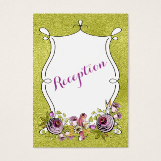 Whimsical Wedding Insert Card | FAUX Green Foil