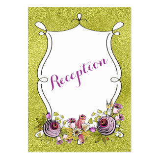 Whimsical Wedding Insert Card   FAUX Green Foil Pack Of Chubby Business Cards
