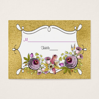 Whimsical Wedding Place Card | FAUX Gold Foil