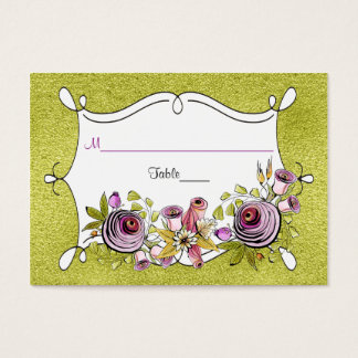 Whimsical Wedding Place Card | FAUX Green Foil