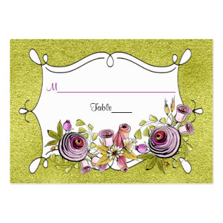 Whimsical Wedding Place Card   FAUX Green Foil Pack Of Chubby Business Cards