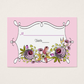 Whimsical Wedding Place Card | Watercolor Florals