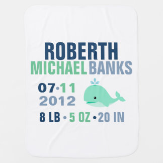Whimsical Whale Baby Birth Announcement {green} Pramblankets