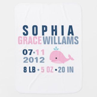Whimsical Whale Baby Birth Announcement {pink} Pramblanket