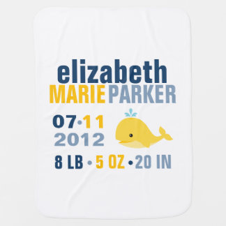 Whimsical Whale Baby Birth Announcement {yellow} Pramblanket