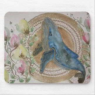 Whimsical whale mouse mat