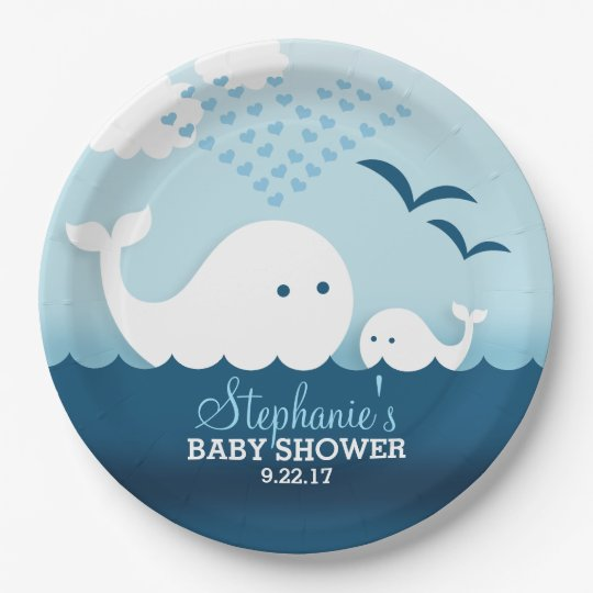Whimsical Whales (boy) Baby Shower 9 Inch Paper