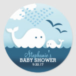 Whimsical Whales (boy) Baby Shower Round Sticker