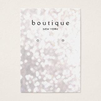 Whimsical White Bokeh Earring Display Card