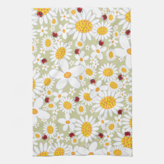 Whimsical White Daisies Flowers Red Ladybugs Cute Tea Towel