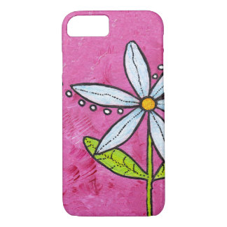 Whimsical White Daisy Flower Pink iPhone 7 Case