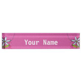 Whimsical White Daisy Flower Pink Nameplate