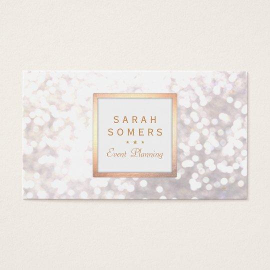 Whimsical White Glitter Bokeh Elegant Gold Frame Business
