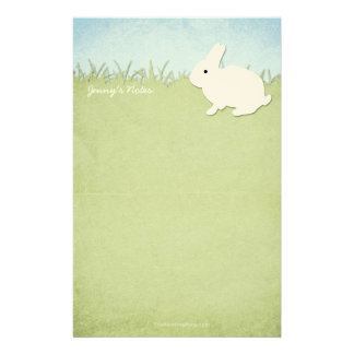 Whimsical White Rabbit Custom Stationery