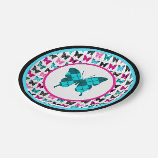 Whimsical Wings: Argyle Blues 7 Inch Paper Plate