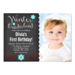 Whimsical Winter Onederland Photo Red Birthday Personalised Announcement