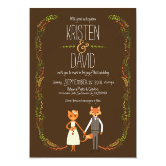 Whimsical Woodland Cat & Fox Couple Wedding Card