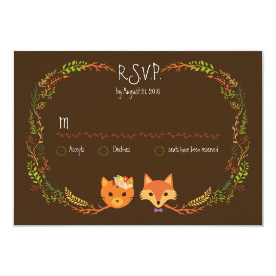 Whimsical Woodland Cat & Fox Couple Wedding RSVP Card