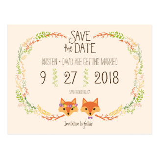 Whimsical Woodland Foxes (Ivory) Save the Date Postcard
