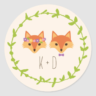Whimsical Woodland Foxes Ivory wedding Classic Round Sticker