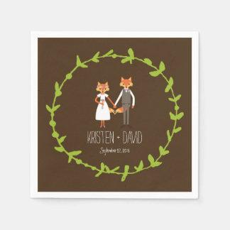 Whimsical Woodland Foxes wedding Disposable Napkin