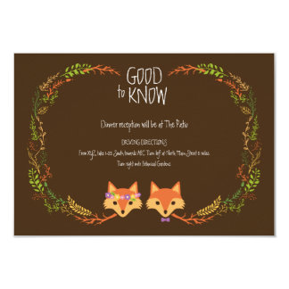 "Whimsical Woodland Foxes Wedding Information Card 3.5"" X 5"" Invitation Card"