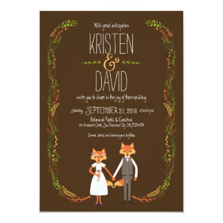 "Whimsical Woodland Foxes Wedding 5"" X 7"" Invitation Card"