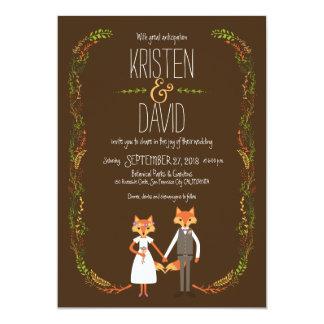 Whimsical Woodland Foxes Wedding 13 Cm X 18 Cm Invitation Card