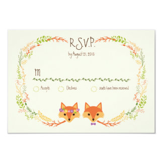 Whimsical Woodland Foxes Wedding Ivory RSVP Card