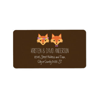 Whimsical Woodland Foxes Wedding Address Label