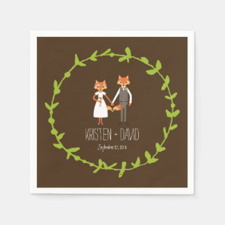 Whimsical Woodland Foxes wedding Paper Napkins