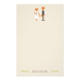 Whimsical Woodland Foxes Wedding Personalized Stationery