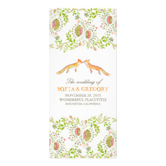 whimsical woodland foxes wedding programs rack card