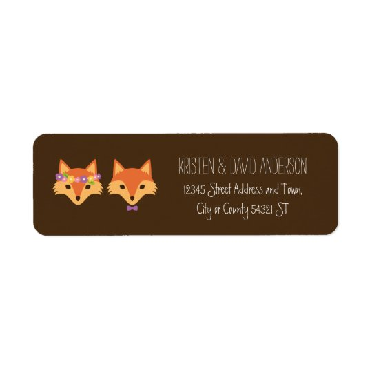 Whimsical Woodland Foxes Wedding Return Address Label
