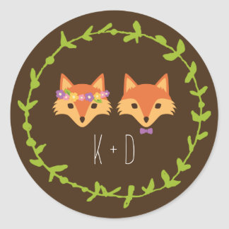 Whimsical Woodland Foxes wedding Round Sticker