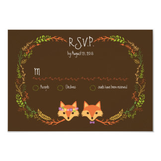 Whimsical Woodland Foxes Wedding RSVP 3.5x5 Paper Invitation Card