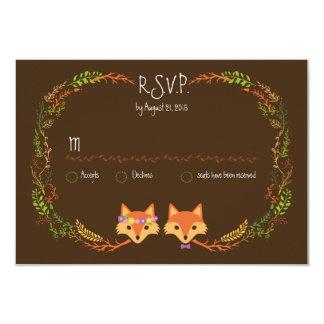 Whimsical Woodland Foxes Wedding RSVP 9 Cm X 13 Cm Invitation Card
