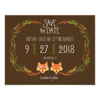 Whimsical Woodland Foxes wedding Save the Date 11 Cm X 14 Cm Invitation Card