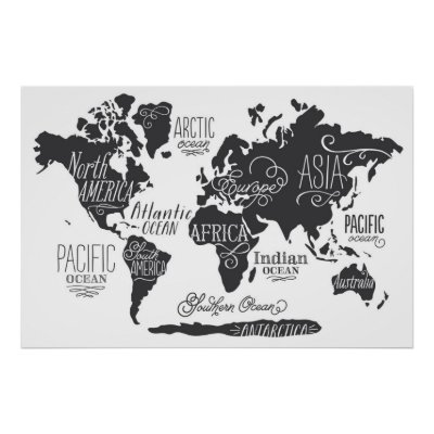 Black and white world map poster zazzle gumiabroncs Choice Image