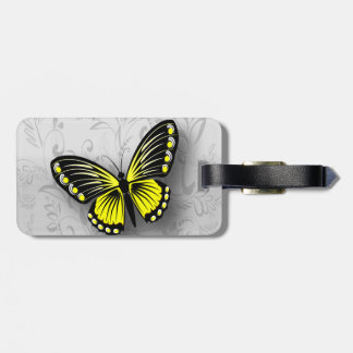 Whimsical Yellow Butterfly on Gray Floral Luggage Tag
